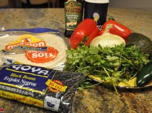 Ingredients for Black Bean Burritos