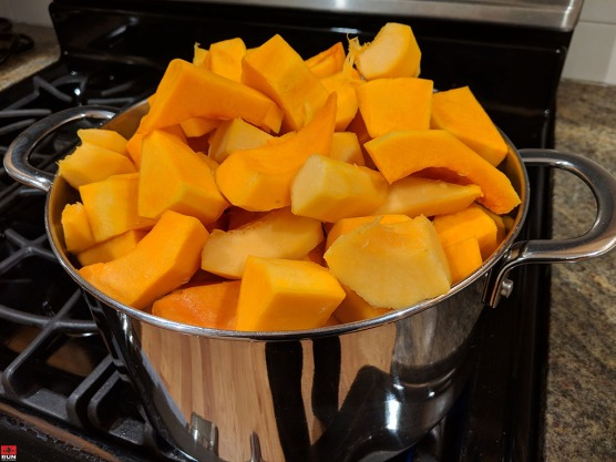 Cut Butternut and Acorn Squash Cooking in Pot