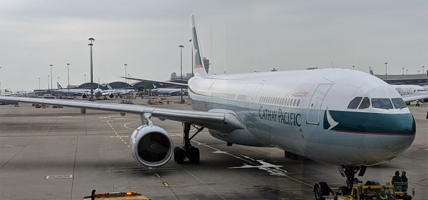 Cathay Pacific flight New York - Hong Kong - Beijing, China in January 2019
