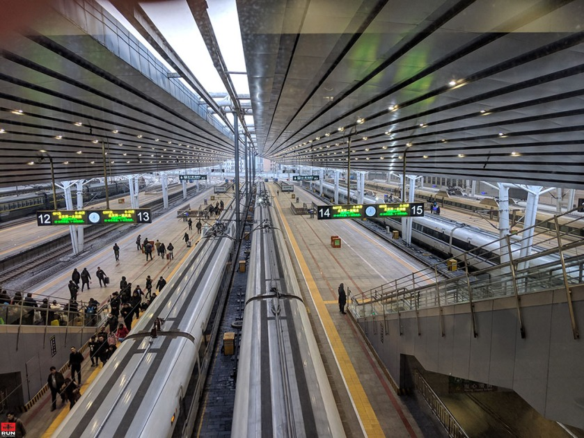 Boarding High Speed Railway in Beijing Train Station, China, January 2019