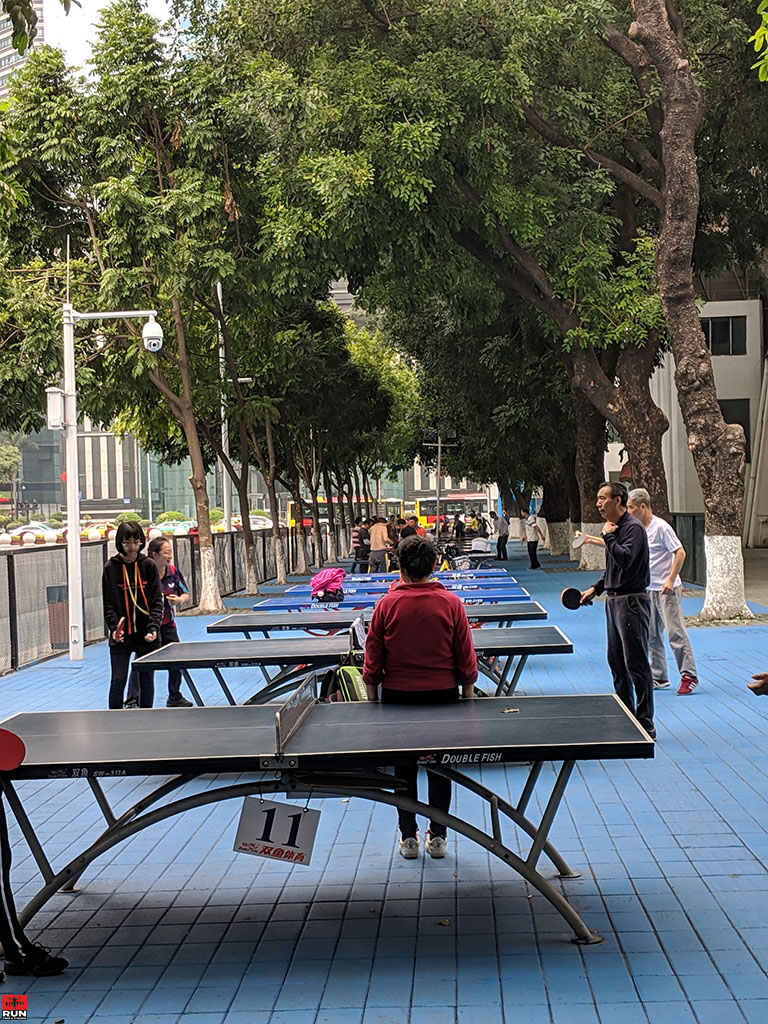 Outdoor table tennis near Tianhe Sports Center, Guangzhou, China in January 2019
