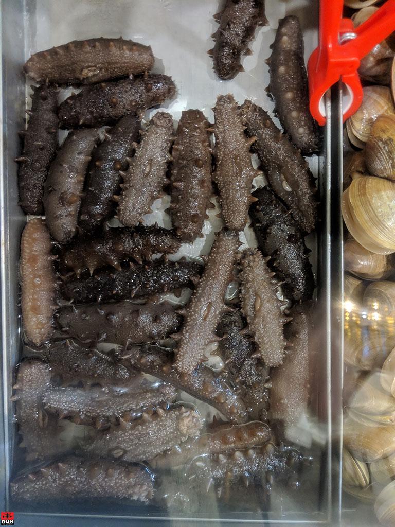 Fresh sea cucumbers, Chinese seafood restaurant, Beijing, in January 2019