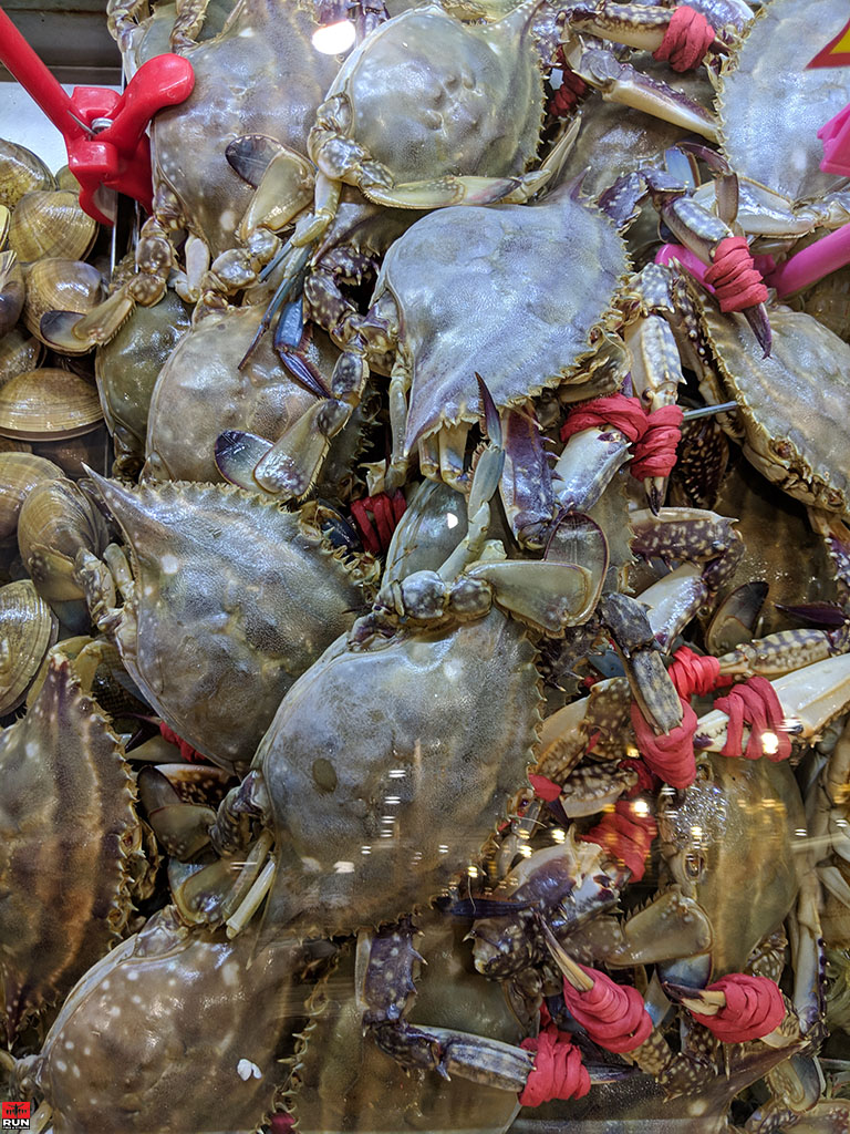 Fresh sea crabs in Chinese seafood restaurant, Beijing, in January 2019