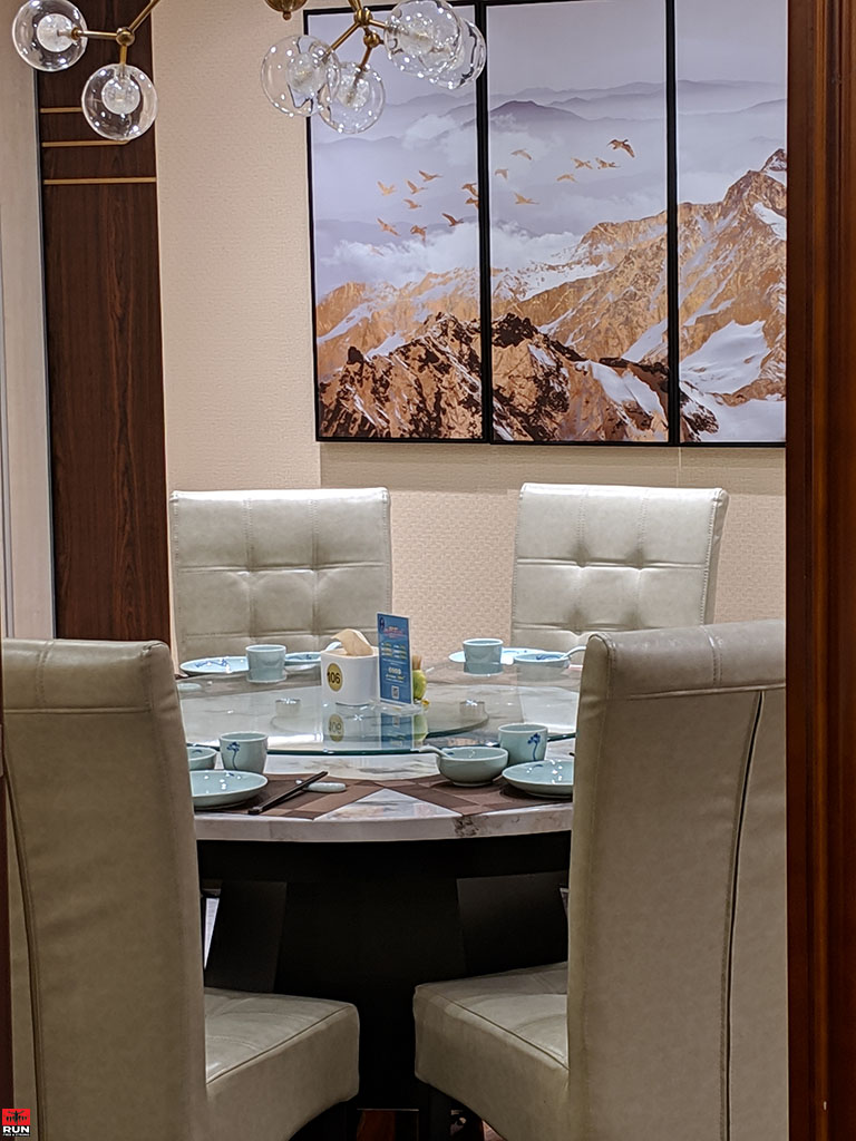 Private dining room in Chinese restaurant, Beijing, in January 2019