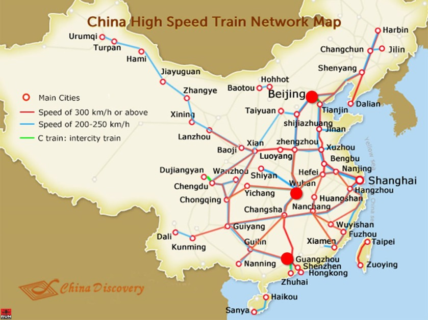China High Speed Train Map