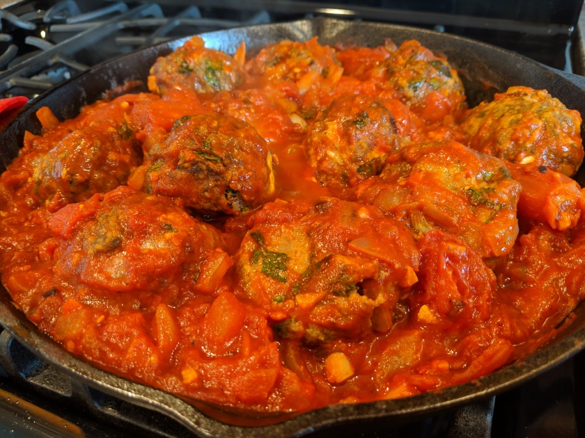 Cooking Italian Meatballs in Tomato Sauce