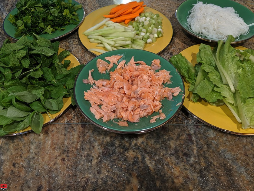 Fresh ingredients for Vietnamese Summer Rolls