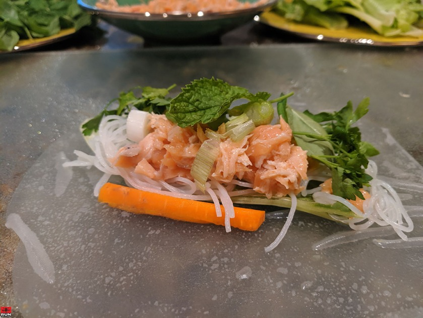 Assembling Vietnamese Summer Rolls on rice wrappers