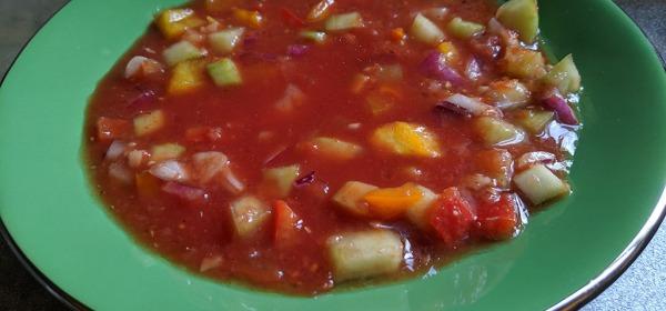 Gazpacho soup ready to serve
