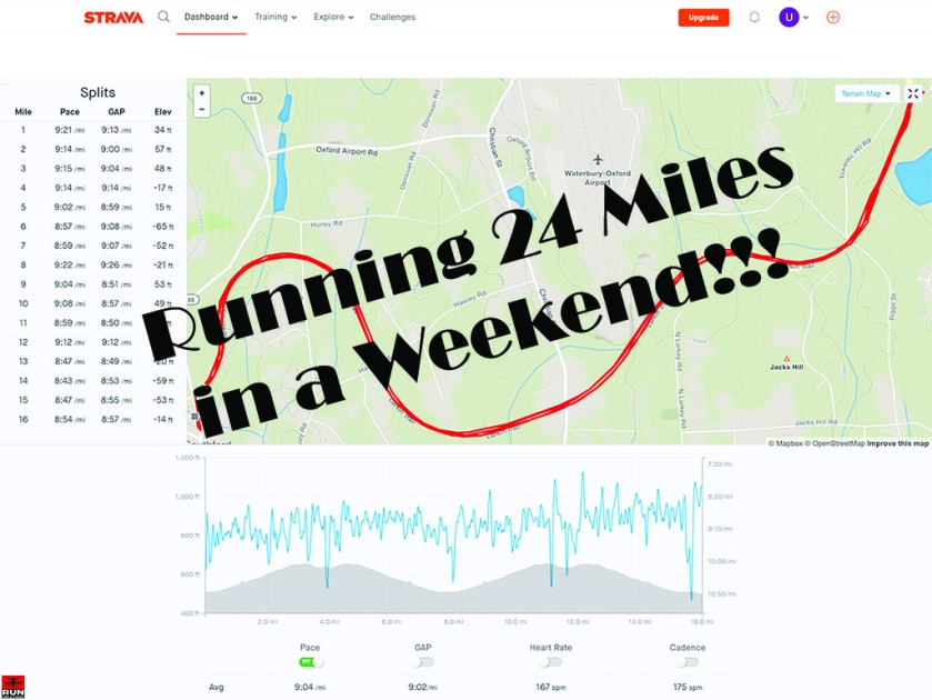Strava Summary of 24 Miles Running in a Weekend